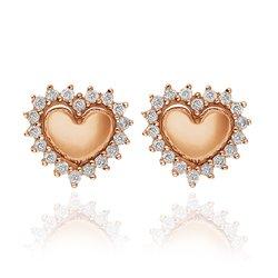 Brinco Coração Ouro Rosé e Diamantes - Colecao Amantes cb6023d3d8