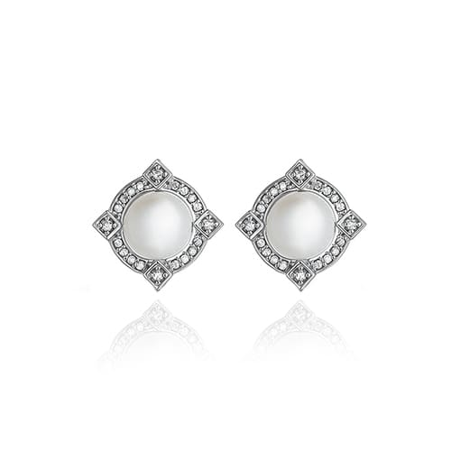 Brinco Ouro Branco Pérolas e Diamantes - Colecao Odisseia 6bfe0fb189