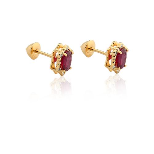 19535b0c386 Brinco Ouro Amarelo Diamantes e Rubi - Colecao Classic Oriental
