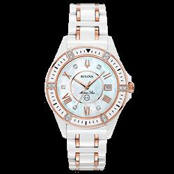 d3640fba83b Relógio Bulova Feminino Cerâmica Branca e Rosé - 98R241