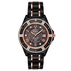 ea57147e55f Relógio Bulova Feminino Cerâmica Preta e Rosé - 98R242