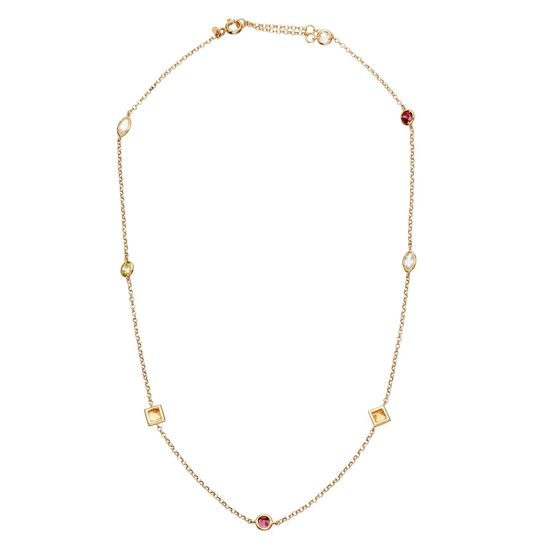 79ab7316817 Colar Ouro Amarelo Citrino Topázio Peridoto e Rodolita - Colecao Cores do  Brasil