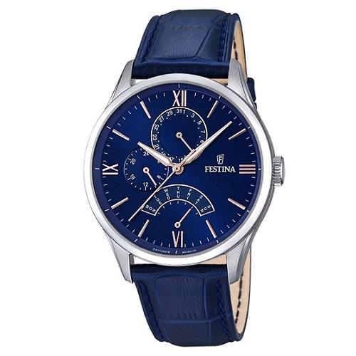 25ec30ff38c Relógio Festina Masculino Couro Azul - F16823 3