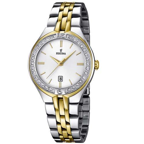 Relógio Festina Feminino Aço Dourado e Prata - F16868 1R  490,00 37970a2dd5