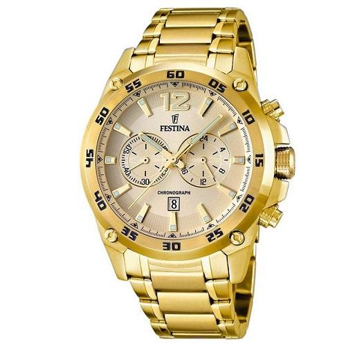 11f03cd860f Relógio Festina Masculino Aço Dourado - F16806 1