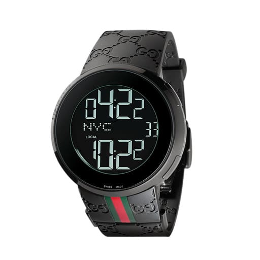 8666aadddcb Relógio Gucci Masculino Borracha Preta Vermelha e Verde - YA114207