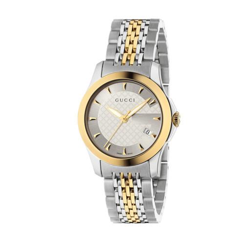 e455dbd3e86 Relógio Gucci Feminino Aço Prateado e Dourado - YA126511R  4.350