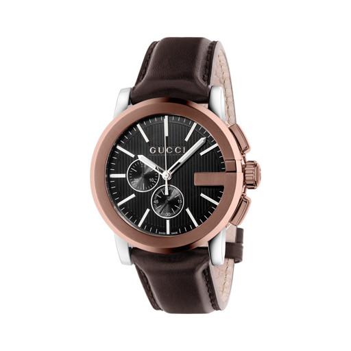 4cb5b28bc06 Relógio Gucci Masculino Couro Marrom - YA101202