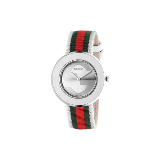 129b03a4f96 Relógio Gucci Feminino Tecido Verde e Vermelho - YA129411