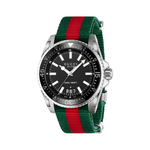 42862c2a7ef91 Relógio Gucci Masculino Nylon Verde e Vermelho - YA136206