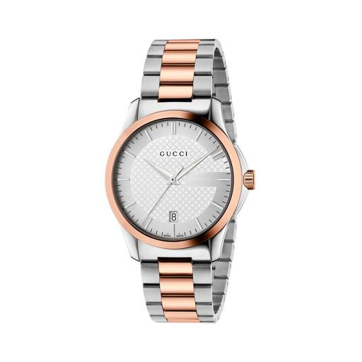1ecf34bf71e66 Relógio Gucci Unissex Aço Prateado e Rosé - YA126447