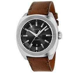 Relógio Gucci Masculino Couro Marrom - YA142207 e7e4355405