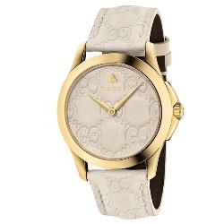 3f87e2a3c45 Relógio Gucci Feminino Couro Branco - YA1264033
