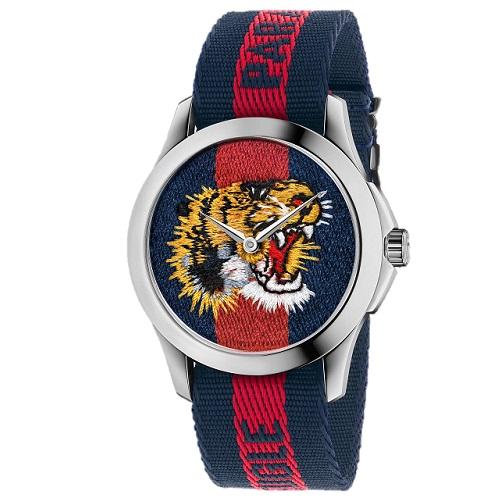 b9989adf037 Relógio Gucci Feminino Nylon Azul e Vermelho - YA126495