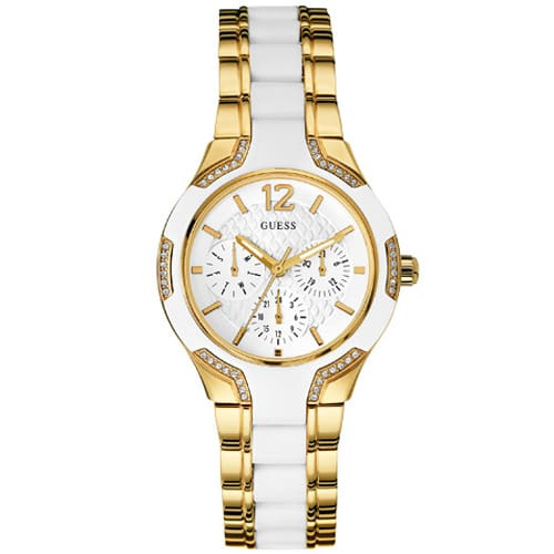 daa9d451555 Relógio Guess Feminino Aço Dourado e Silicone Branco - W0556L2
