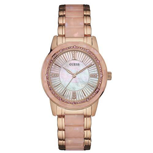 12f13ea4f8146 Relógio Guess Feminino Aço Rosé e Madrepérola Rosa - W0706L4