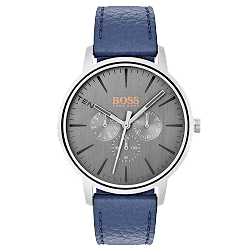 Relógio Hugo Boss Masculino Couro Azul - 1550066 b4837699fe