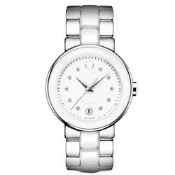 a29c37aaa62 Relógio Movado Feminino Cerâmica Branca e Aço Prateado - 606540