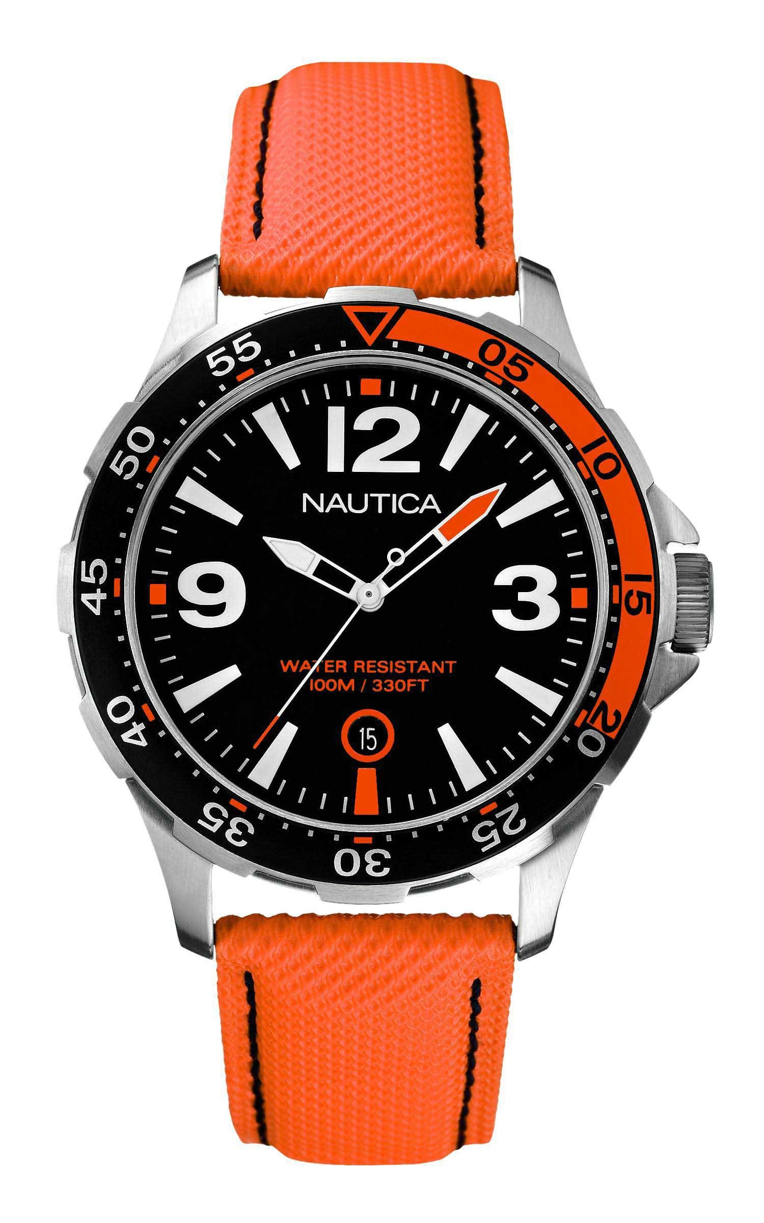 48aa76ce74b Relógio Nautica Masculino Nylon Laranja - A12578G