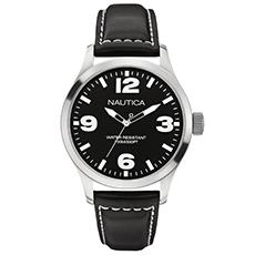 49d5ec58da6 Relógio Nautica Masculino Couro Preto - A12622G