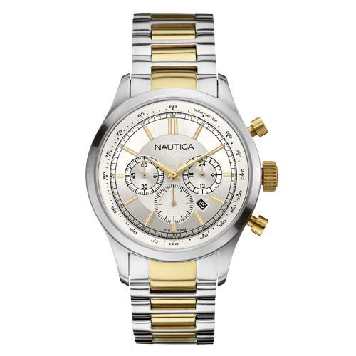 7bae6211137 Relógio Nautica Masculino Aço Prateado e Dourado - A22618G