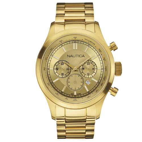 5a0681f4093 Relógio Nautica Masculino Aço Dourado - A22619G