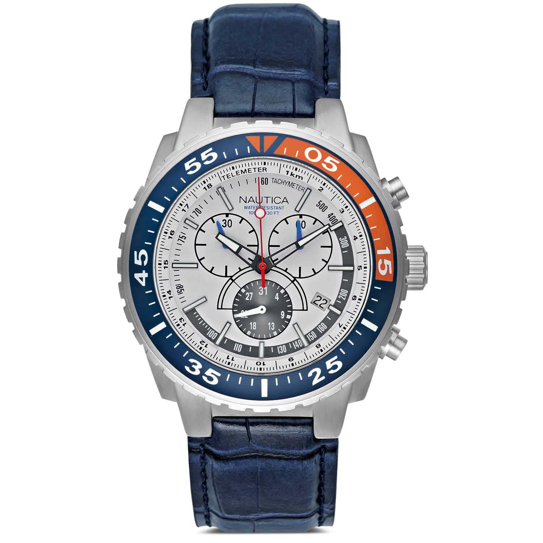 116c04b858b Relógio Nautica Masculino Couro Azul - A14679G