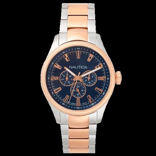 8cea4676931 Relógio Nautica Masculino Aço Prateado e Dourado - NAPSTB005WW