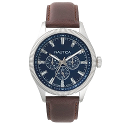 a84ace9a708 Relógio Nautica Masculino Couro Marrom - NAPSTB001