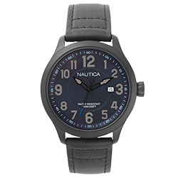 d0321e04df0 Relógio Nautica Masculino Couro Preto - NAPHAS001WW