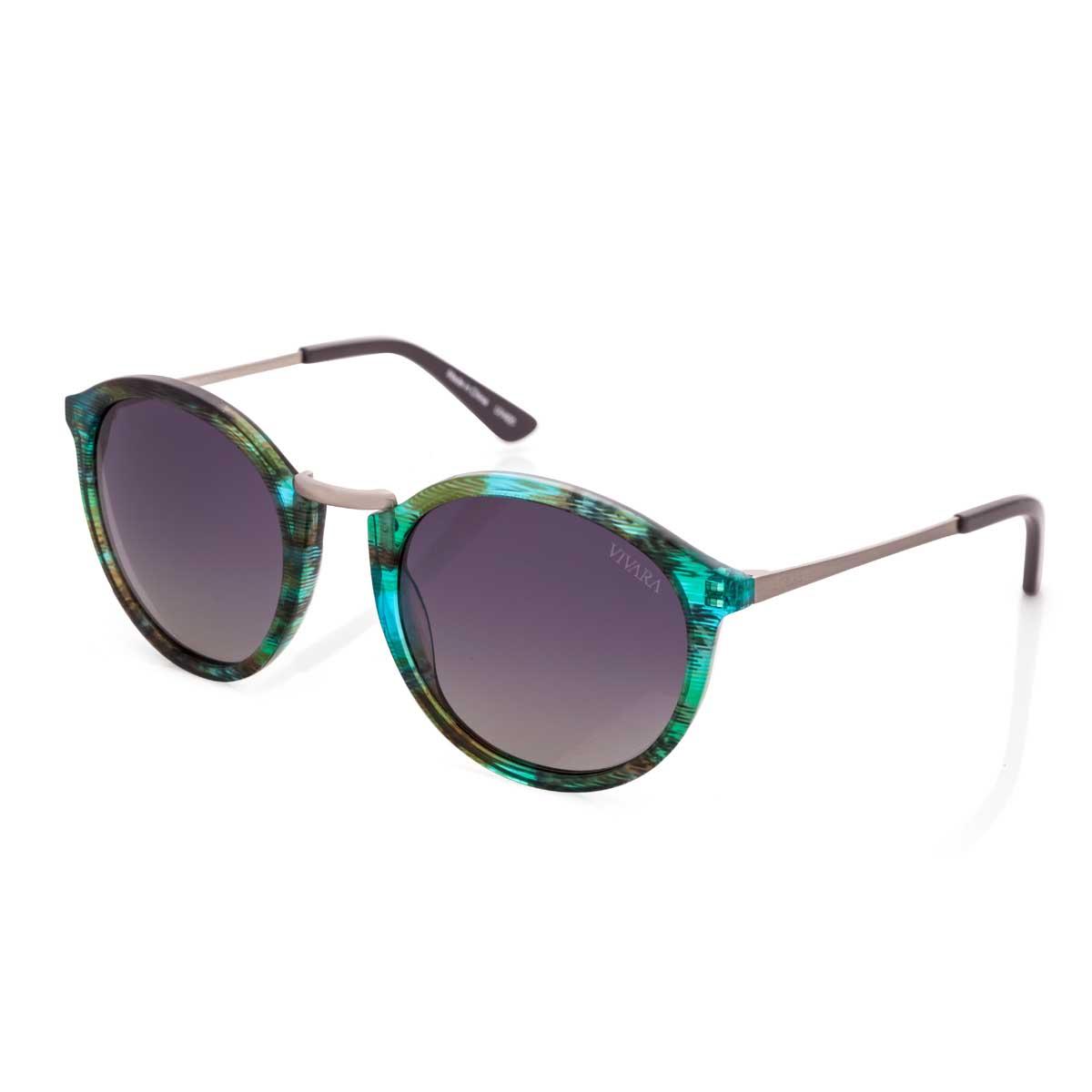 630ab63e02070 Óculos de Sol Redondo em Acetato Verde e Azul