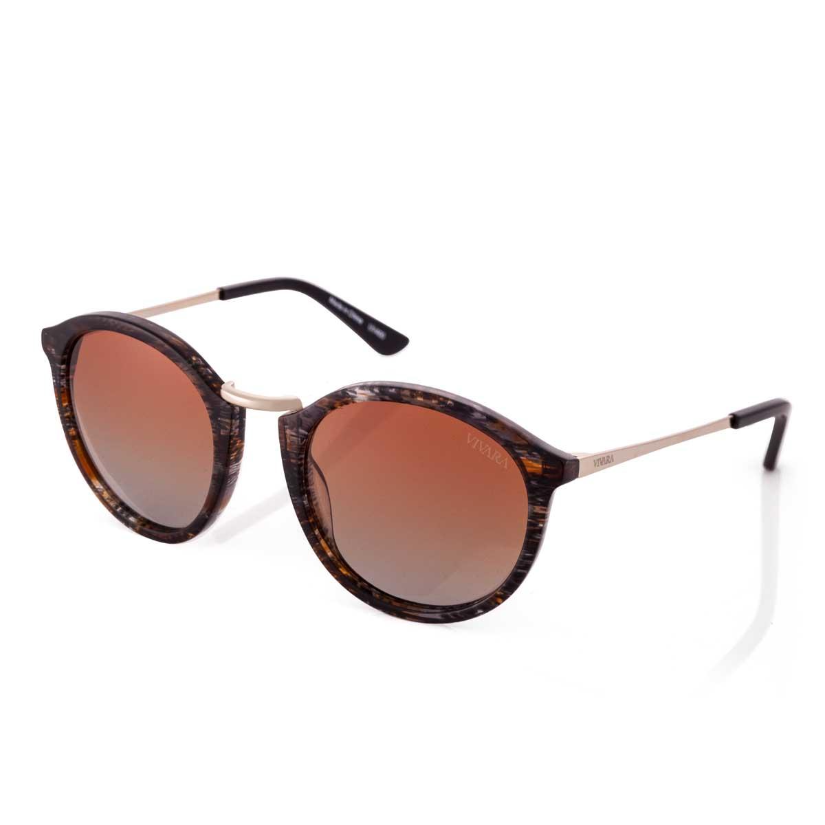 a91c965613014 Óculos de Sol Redondo em Acetato Marrom