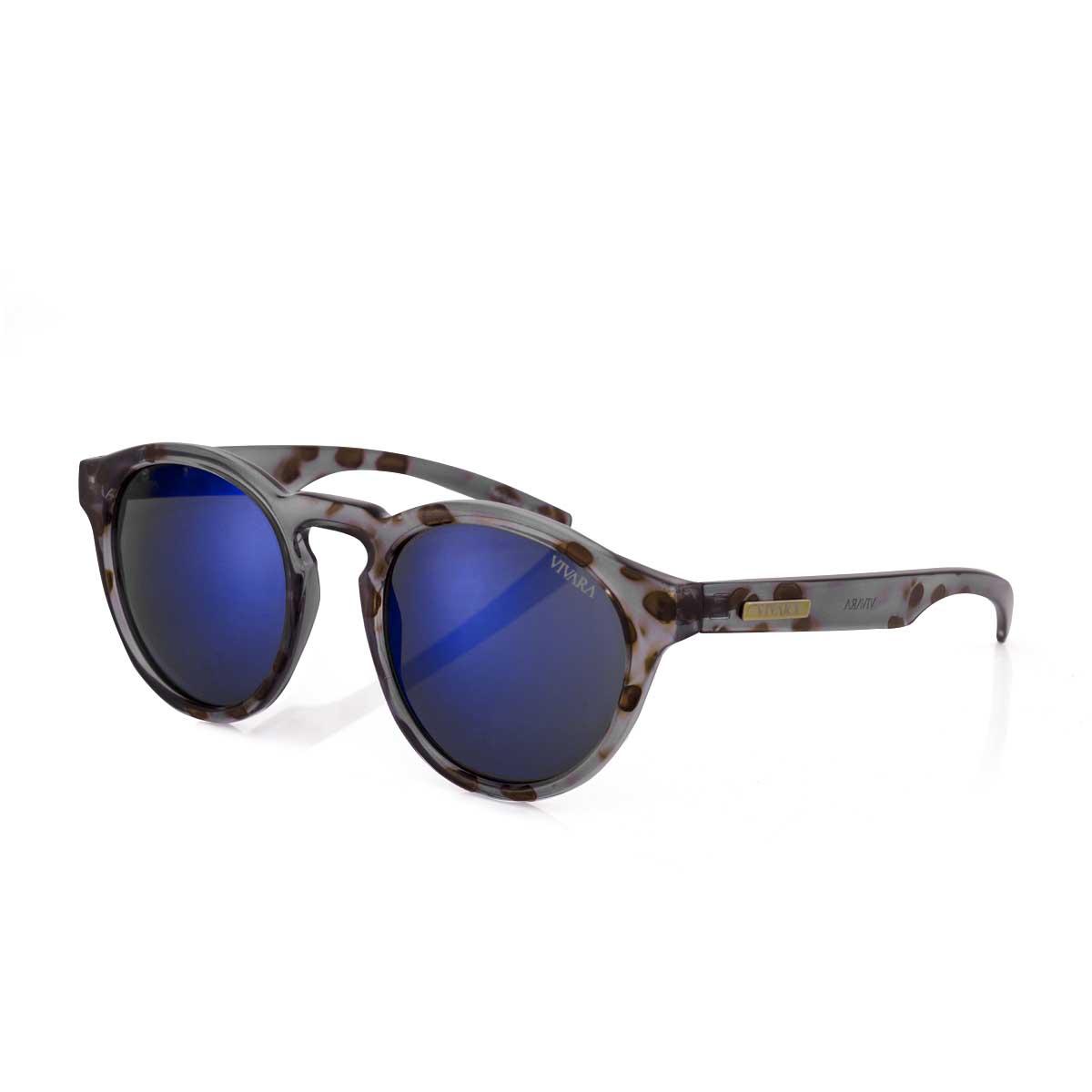 999af6134 Óculos de Sol Redondo em Acetato Tigre Cinza