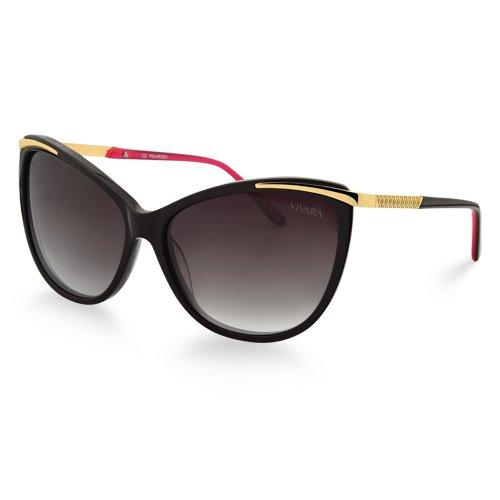 3d4ccc0e4 Óculos de Sol Gatinho em Acetato Marrom e Dourado