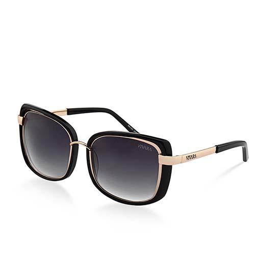 423feb32f Óculos de Sol Retangular em Acetato Preto e Rosé