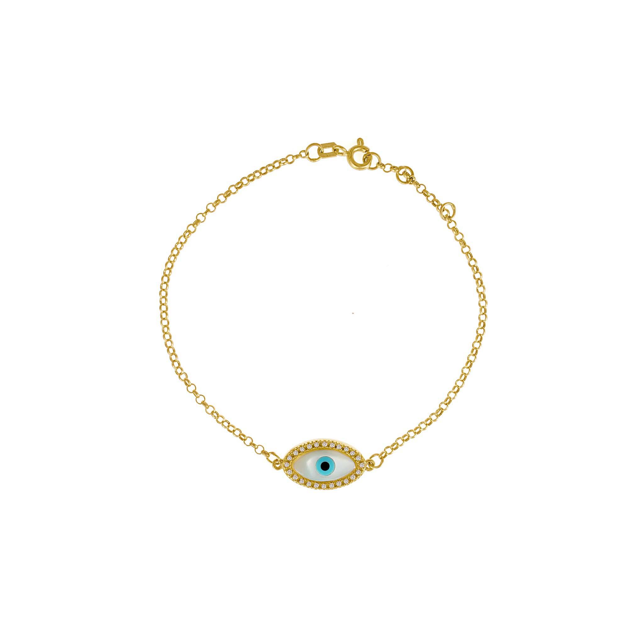 dc5b77df81b04 Pulseira Ouro Amarelo Diamantes e Madrepérola Olho Grego Navete - Colecao  Horus