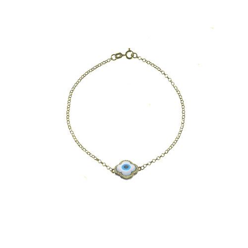 Pulseira Ouro Amarelo Diamantes e Madrepérola Olho Grego 8006d79b0e