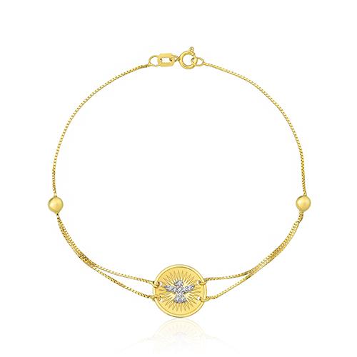 57db70250da7b Pulseira Divino Espírito Santo Ouro Amarelo e Diamantes - Colecao Medalhas