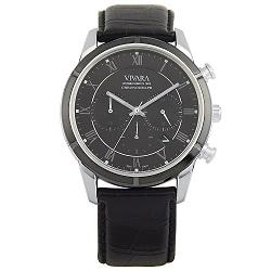 e0b769fd1ce Relógio Vivara Masculino Couro Preto - DS12662B-1