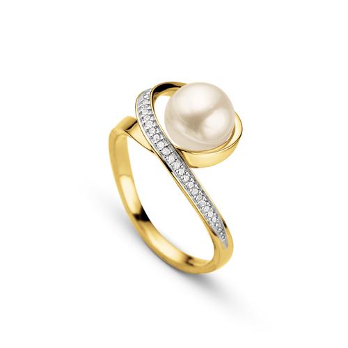 f58a690c2 Anel Ouro Amarelo Pérola e Diamantes - Colecao Fitas