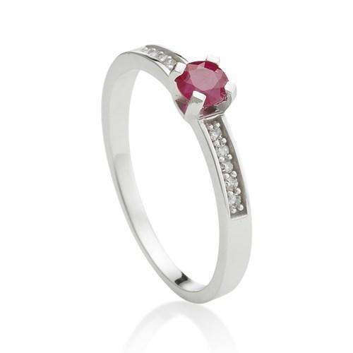 fd76868ce44 Anel Ouro Branco Diamantes e Rubi - Colecao Classic Oriental