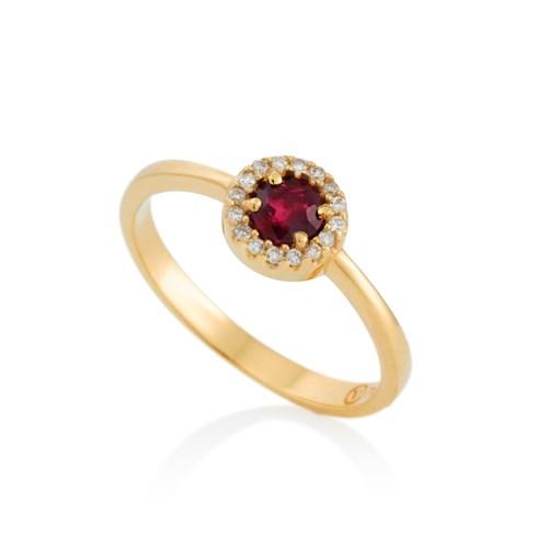 Anel Ouro Amarelo Diamantes e Rubi - Colecao Classic Oriental 5ed54c5b29