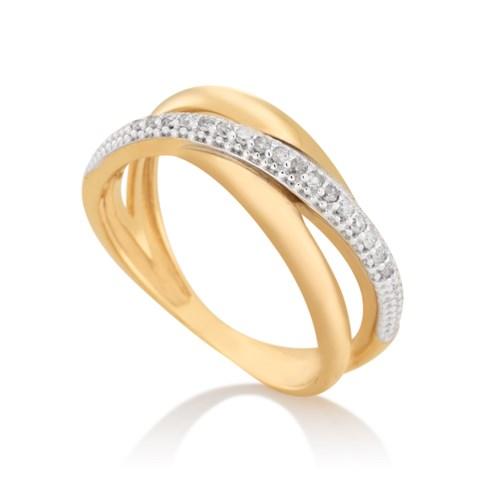 b585e7172b879 Anel Ouro Amarelo Ouro Branco e Diamantes - Colecao Gold