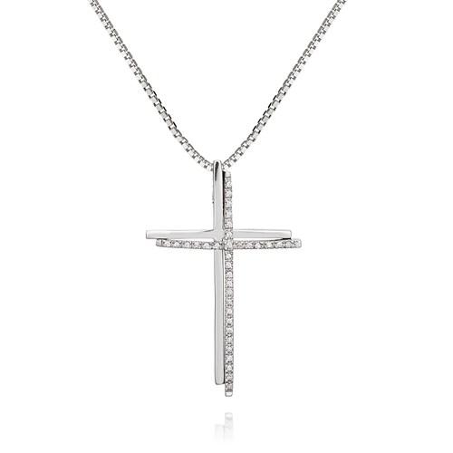595536940f6b4 Pingente Ouro Branco e Diamantes - Colecao Cruz Stick