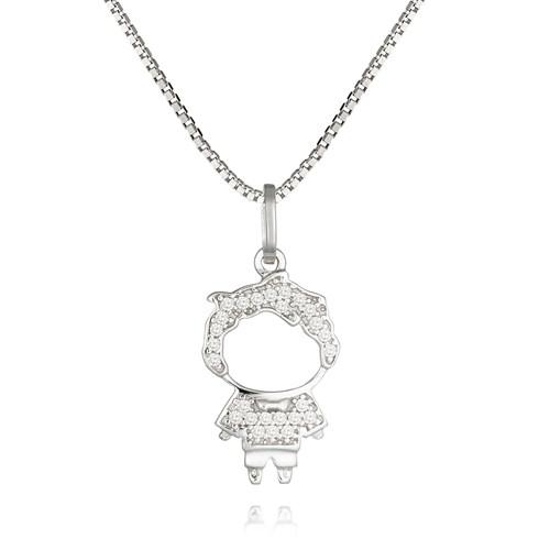 9394f611ca7e3 Pingente Menino Ouro Branco e Diamantes - Colecao Mama