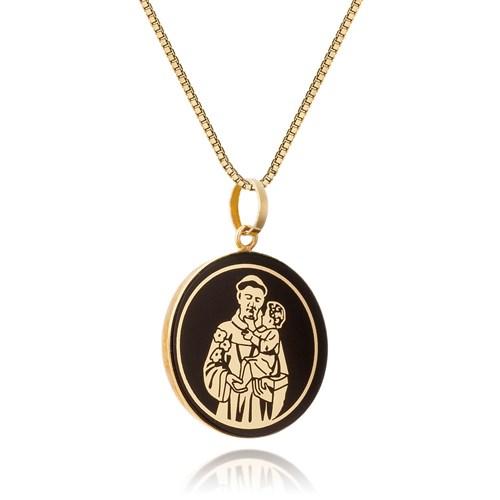 Pingente Medalha Ouro Amarelo Santo Antônio - Colecao Medalhas fc95709332