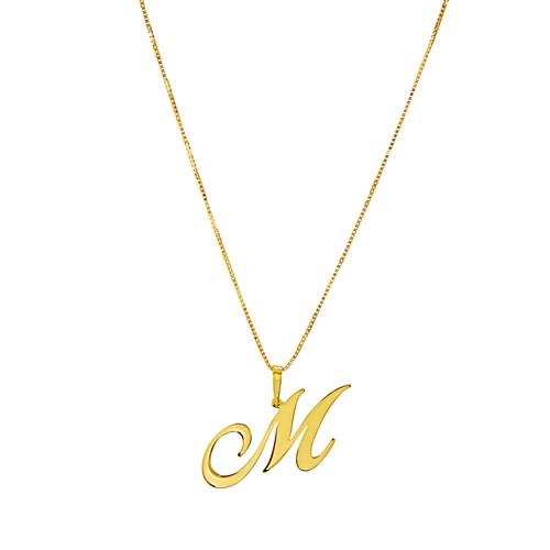 Pingente Letra M Ouro Amarelo Letras - Colecao Letras 1a32760112