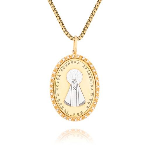 c7796377cf8ff Pingente Nossa Sra Aparecida Ouro Amarelo Ouro Branco e Diamantes - Colecao  Medalhas