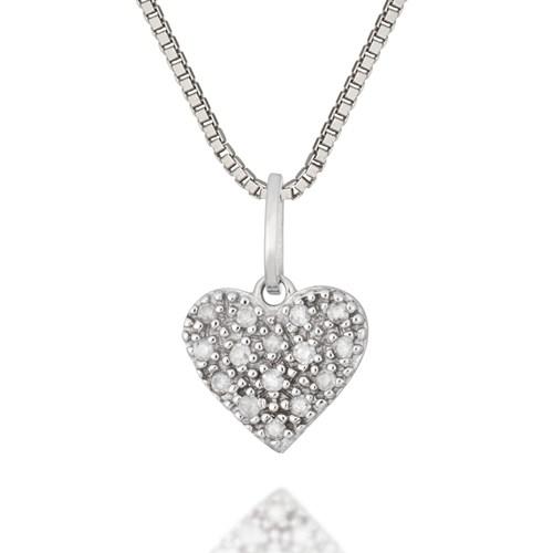 a6a32d88d9da5 Pingente Coração Ouro Branco e Diamantes - Colecao Mama