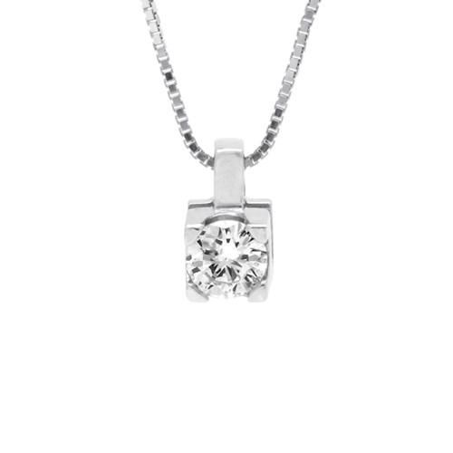 Pingente Solitário Ouro Branco e 14 Pontos de Diamantes - Colecao Solitário 79bb2e7430